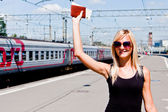 Woman on the platform — Stock Photo
