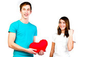 Man gives a woman the heart — Stock Photo