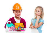 Two small builder — Stock Photo