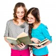 Two girls read books — Stock Photo