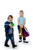 Children with shopping — Stock Photo