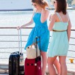Friends with suitcases — Stock Photo