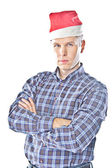 A man in a cap of Santa Claus — Stock Photo