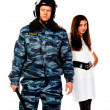 Police officer and a woman — Stock Photo