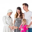 Maiden and family — Stock Photo