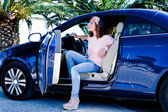 Woman in the car — Stock Photo