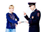 Boy with police — Stock Photo