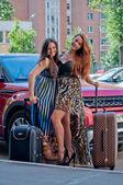 Two women near the car — Stock Photo