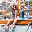 Girls on a yacht in the summer — Stock Photo