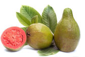 Fresh Guava fruit with leaves on white background — Stock Photo