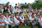 RIGA, LATVIA - JULY 06: People in national costumes at the Latvi — Stock Photo