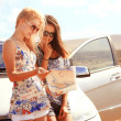 Two young women with car look at road map with mountain landscap — Stock Photo #42031215
