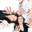 Stock Photo: Top view of young people rejoice