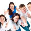 Top view of young friends showing thumbs up — Stock Photo #36033721