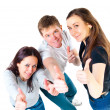 Top view of young friends showing thumbs up — Stock Photo #36033779