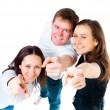 Top view young friends showing finger — Stock Photo #36033803