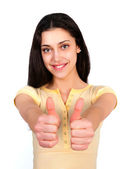 Young cute girl with thumbs up — Stok fotoğraf