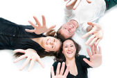 Top view of young people rejoice — Stock Photo
