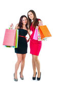 Young attractive girl with shopping bags in hand — Stock Photo