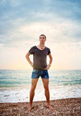 Portrait of a young athletic man of the sea — Stock Photo