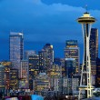 Seattle Space needle at dusk viewed from kerry park — Stock Photo