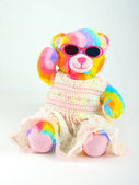 Colourful Teddy Bear with Sun Glasses — Stock Photo