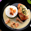 Full chicken's breast with ham and spinach — Stockfoto