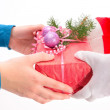 Handing out of presents — Stock Photo