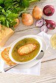 Paris onion soup — Stock Photo