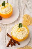 Grädde - apelsiner - kanel — Stockfoto