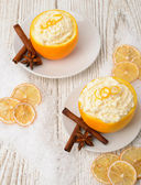 Cream - oranges - cinnamon — Stock Photo