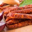 Frankfurterki world to known and beloved thin small sausages - 图库照片