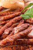 Frankfurterki world to known and beloved thin small sausages — Stock Photo