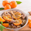 Stock Photo: Liver with onion-orange sauce