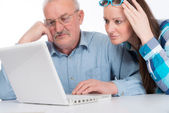 Helping with new computer — Stock Photo