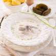 Stock Photo: Herring with potato and cream
