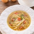 Noodle soup with beef broth — Stock Photo #19383199