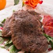 Crunchy duck's breast with orange and rucola — Stock Photo