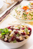 Herring salad with beetroot — Stock Photo