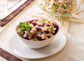 Herring salad with beetroot - selective sharpness-deep — Stock Photo