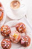 Bismarck doughnuts on a plate — Stock Photo