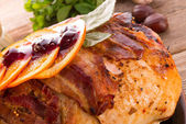 Baked turkey with chestnut filling and orange — Stock Photo
