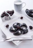 Sweeten pierogi with blackberries - B & W — Stock Photo
