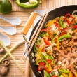 Wok frying pan - Stock Photo