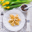 Polish Curd  dumplings with cinnamon butter — Stok fotoğraf
