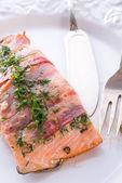 Losos ve slaninovém mantlu — Stock fotografie