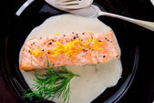 Salmon grilled with dill and boiled potato — Stock Photo