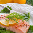 Stock Photo: Grilled salmon fillets on spinach