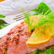 Royalty-Free Stock Photo: Grilled salmon fillets on spinach