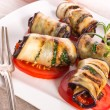 Stock Photo: Baked Eggplant with vegetables